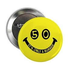 50th birthday smiley face Button