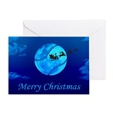 Santa Moon Christmas Card