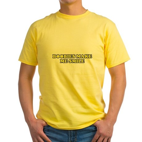 Boobies Make Me Smile Yellow T-Shirt