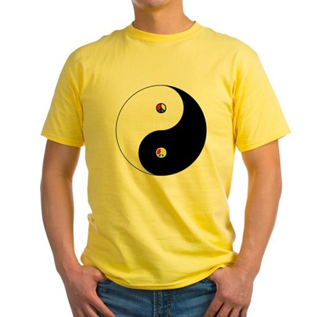 Peace Sign Dao Men's Yellow T-Shirt
