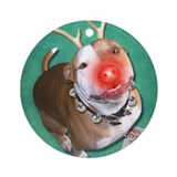 Pitbull Round Ornaments