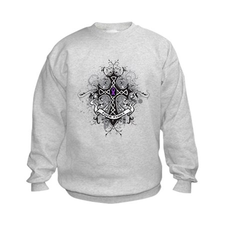 Pancreatic Cancer FaithCross Kids Sweatshirt