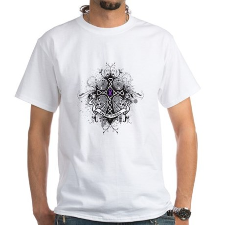 Pancreatic Cancer FaithCross White T-Shirt
