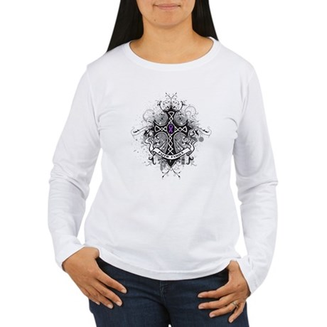 Pancreatic Cancer FaithCross Women's Long Sleeve T