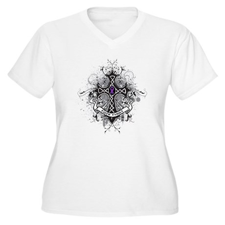 Pancreatic Cancer FaithCross Women's Plus Size V-N
