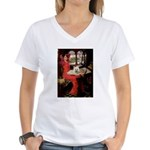 Lady (S) - Cairn Terrier 4 Women's V-Neck T-Shirt