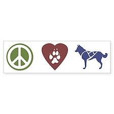 Peace, Love & Sled Dogs Bumper Bumper Sticker