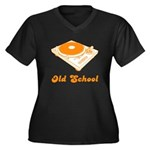 Old School Turntable Women's Plus Size V-Neck Dark