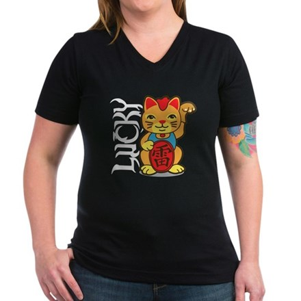 Lucky Cat Women's V-Neck Dark T-Shirt