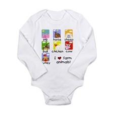 I Love Farm Animals Long Sleeve Infant Bodysuit