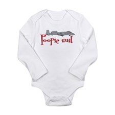 Poopie Suit -red Long Sleeve Infant Bodysuit