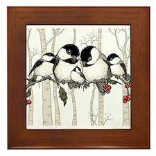 Chickadee Family Framed Tile