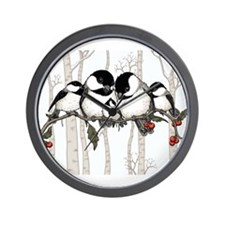 Chickadee Family Wall Clock