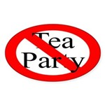 No Tea Party Bumper Sticker (Red Oval)