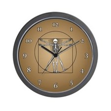 Vitruvian Man Skeleton Wall Clock