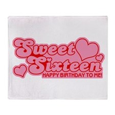 Sweet Sixteen Birthday Retro Throw Blanket