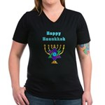 Happy Hanukkah Women's V-Neck Dark T-Shirt