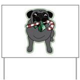 Candy Cane Pug in Black Yard Sign