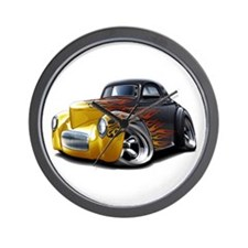 1941 Willys Black Flames Wall Clock