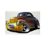 1941 Willys Black Flames Rectangle Magnet