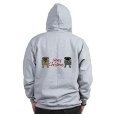 Candy Cane Fawn and Black Zip Hoodie