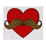 Moustache Valentine Heart Throw Blanket