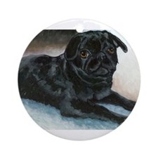 Pug Puppy Head Up Ornament (Round)
