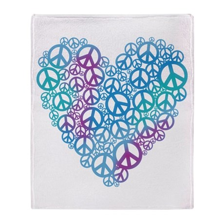 Peace Symbols Heart Throw Blanket