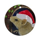 Mouse In Santa Hat Ornament (Round)