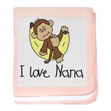 Monkey I Love Nana baby blanket