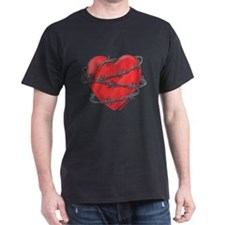 Barbed Wire Heart Black T-Shirt