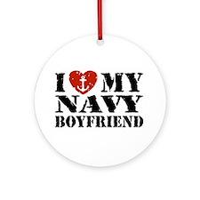 I Love My Navy Boyfriend Ornament (Round)