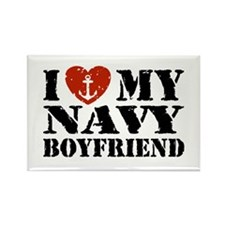 I Love My Navy Boyfriend Rectangle Magnet