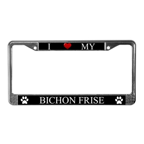 Black I Love My Bichon Frise Frame