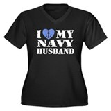 I Love My Navy Husband Women's Plus Size V-Neck Da