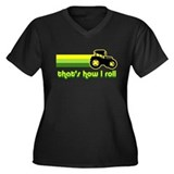 Tractor Rollin' Women's Plus Size V-Neck Dark T-Sh