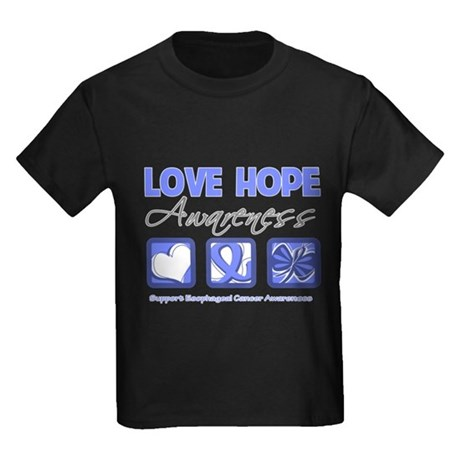 Esophageal Cancer LoveHope Kids Dark T-Shirt