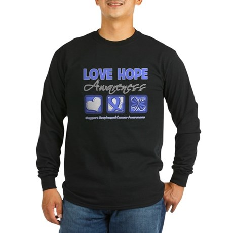 Esophageal Cancer LoveHope Long Sleeve Dark T-Shir