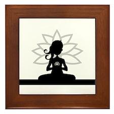 Yoga Girl Silhouette Framed Tile