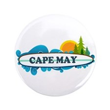 "Cape May NJ - Surf Design 3.5"" Button"