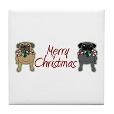 Candy Cane Fawn and Black Tile Coaster