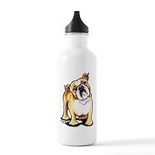 Fawn White Bulldog Water Bottle