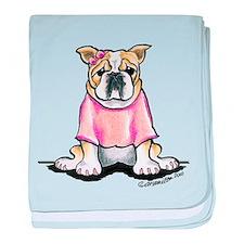 Girly Bulldog baby blanket