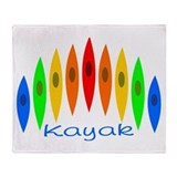 Rainbow of Kayaks Throw Blanket