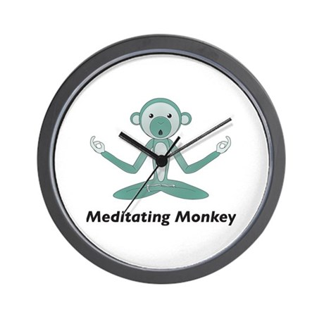 Meditating Monkey Wall Clock