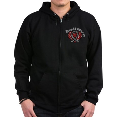 Brain Cancer BelieveHeart Zip Hoodie (dark)