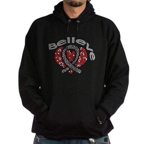 Brain Cancer BelieveHeart Hoodie (dark)