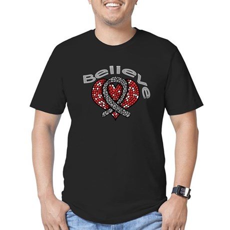 Brain Cancer BelieveHeart Men's Fitted T-Shirt (da