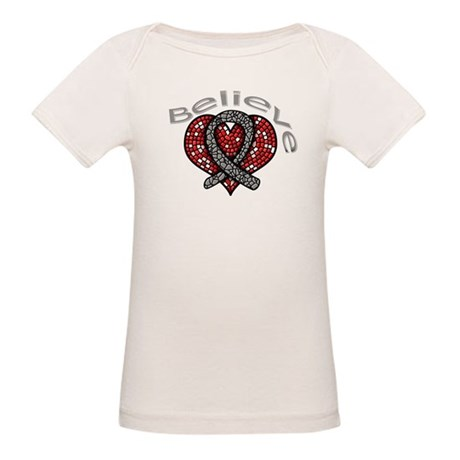 Brain Cancer BelieveHeart Organic Baby T-Shirt