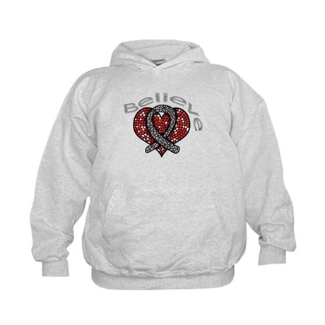 Brain Cancer BelieveHeart Kids Hoodie